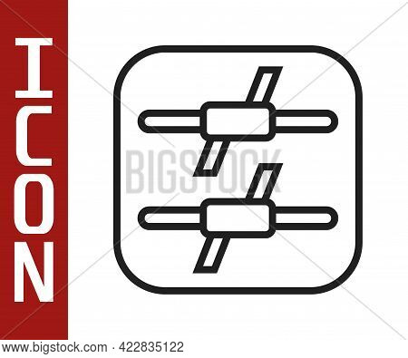Black Line Barbed Wire Icon Isolated On White Background. Vector