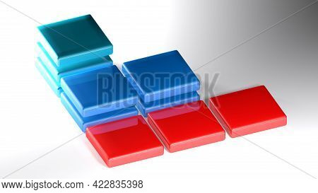 Abstract Icon With Square Items On White Surface - 3d Rendering Illustration