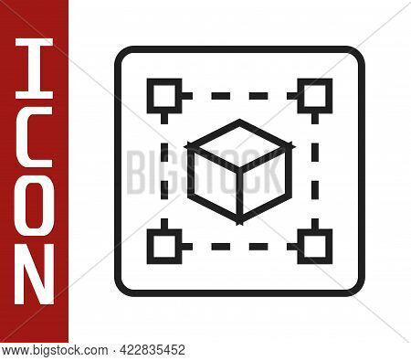 Black Line Geometric Figure Cube Icon Isolated On White Background. Abstract Shape. Geometric Orname