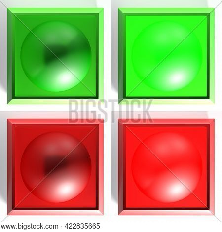 Set Of Checkboxes With Red And Green Light, On And Off - 3d Rendering Illustration