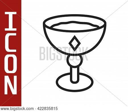 Black Line Medieval Goblet Icon Isolated On White Background. Vector