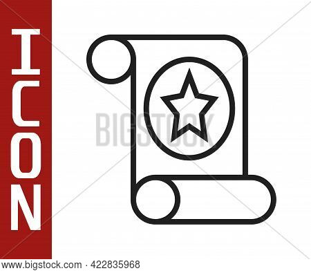 Black Line Magic Scroll Icon Isolated On White Background. Decree, Paper, Parchment, Scroll Icon. Ve