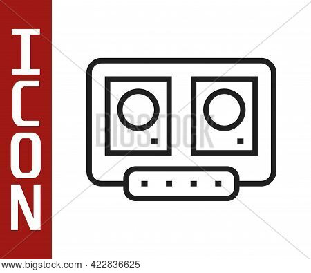Black Line Dj Remote For Playing And Mixing Music Icon Isolated On White Background. Dj Mixer Comple