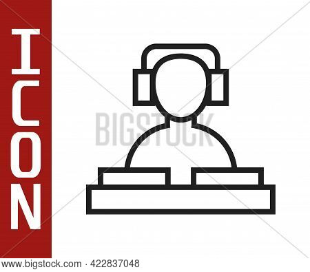 Black Line Dj Wearing Headphones In Front Of Record Decks Icon Isolated On White Background. Dj Play