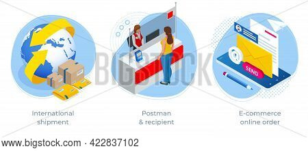 Isometric Concept Of International Shipment, Postman Recipient And E-commerce Online Order. Post Off