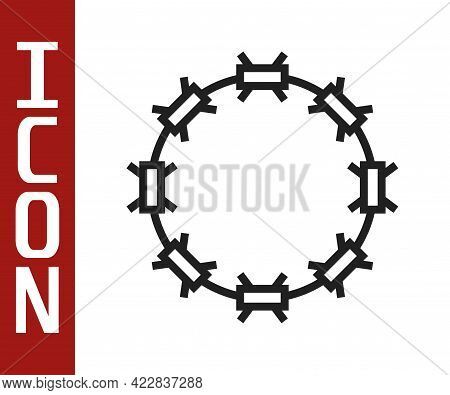 Black Line Crown Of Thorns Of Jesus Christ Icon Isolated On White Background. Religion, Bible, Chris