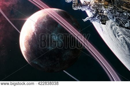 Planet In Deep Space. Space Station In Orbit. Science Fiction. Elements Of This Image Furnished By N