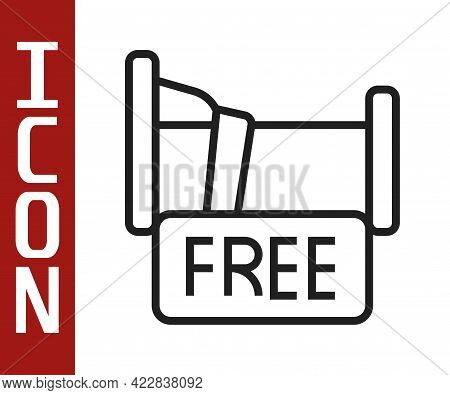 Black Line Free Overnight Stay House Icon Isolated On White Background. Vector