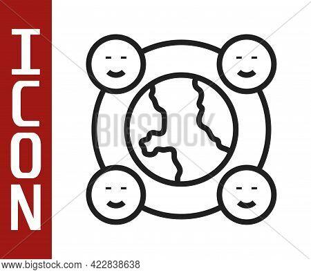 Black Line International Community Icon Isolated On White Background. Worldwide Community. Cross Cul