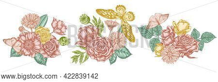 Flower Bouquet Of Pastel Poppy Flower, Calendula, African Giant Swallowtail, Great Orange-tip, Plain