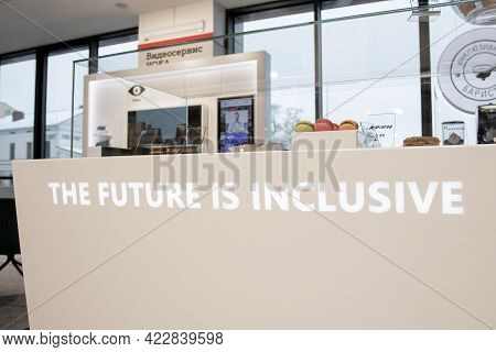 Belarus. Minsk. January, 2021 - Disabled Inclusion Works As A Barista In An Inclusive Cafe. The Bari