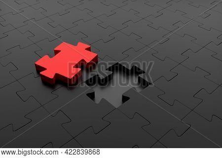 Red Puzzle Piece Ready To Be Placed In A Dark Puzzle. Concept Of Creativity, Inspiration And Problem