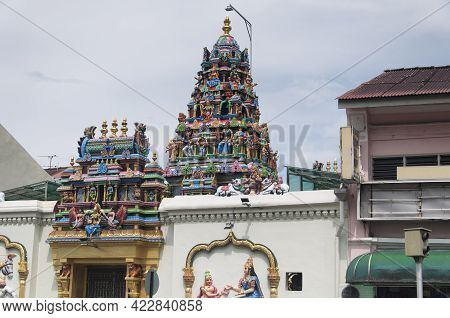 The Oldest Hindu Temple, Sri Mahamariamman Temple, In The George Town Area Of Penang Malaysia.