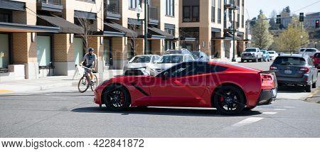 Olympia, Washington Usa - April 06, 2021: Chevrolet Chevy Corvette Stingray. Side View.