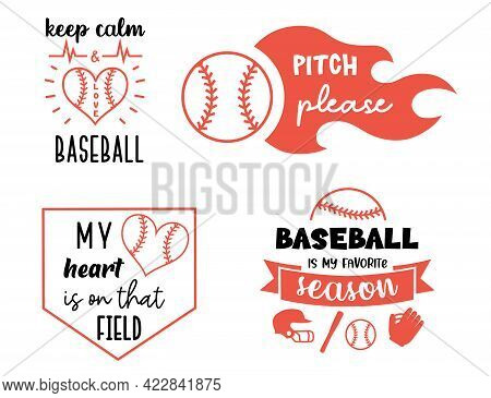 Vector Baseball Designs. Sport Signs Labels And Prints. Softball Symbols With Quote.