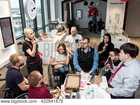 Minsk, Belarus - February 17, 2021: Inclusive Services Group At Inclusive Cafe. A Unique Project - I