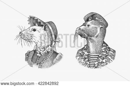 White Mouse In Hat And Suit. Fur Seal Man In Military Uniform. Victorian Lady Or Woman. Fashion Anim