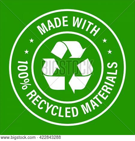 'made With 100% Recycled Materials' Vector Icon, White In Color