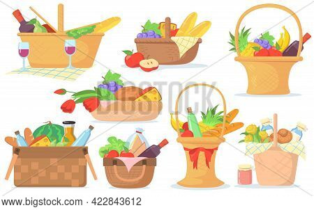 Different Baskets For Picnic Vector Illustrations Set. Collection Of Hampers With Food, Wine, Snacks