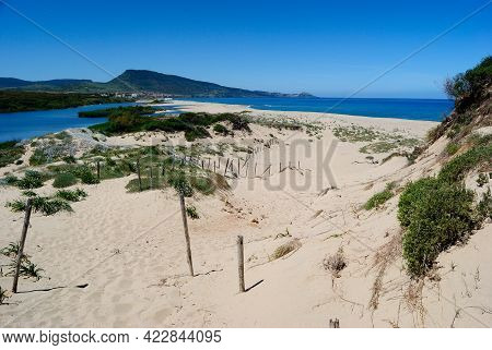 View Of The Pirotti Li Frati Beach, On The Left Coghinas River