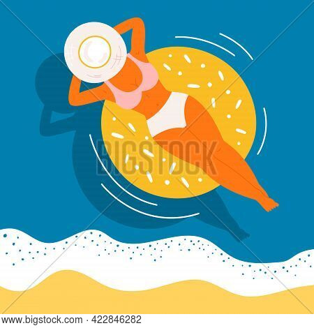 Woman On Swimming Rubber Ring Vector Concept. Top View Of A Tanned Girl With A Hat On A Blue Water W