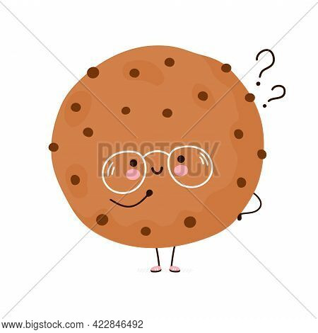 Cute Funny Cookie With Question Marks. Vector Hand Drawn Cartoon Kawaii Character Illustration Icon.