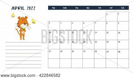Horizontal Desktop Calendar Page Template For April 2022 With A Cartoon Tiger Symbol Of The Chinese
