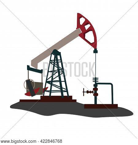 Oil Rig Vector Stock Illustration. Oil Pumps, Drilling Derricks From Oil Field Silhouette. Crude Oil