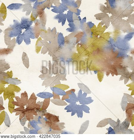 Seamless Watercolor Floral Trendy Chic Pattern For Surface Print.