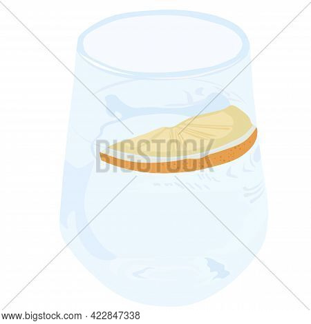 Glass Glass With Water And Lemon Vector Stock Illustration. Cool Drink With A Slice Of Citrus Fruit.