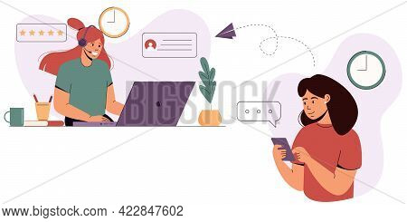 The Girl Turns To The Support Service. Customer Service Concept.contact Us.online Helpline, Hotline