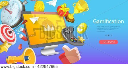 3d Isometric Flat Vector Conceptual Illustration Of Online Gamification Campaign, Creating Interacti