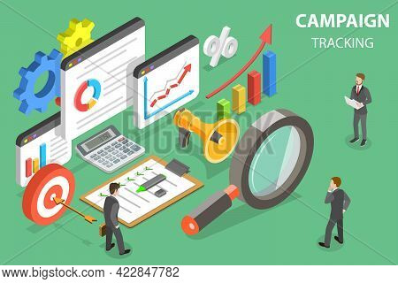 3d Isometric Flat Vector Conceptual Illustration Of Digital Marketing Campaign Tracking, Web Analysi
