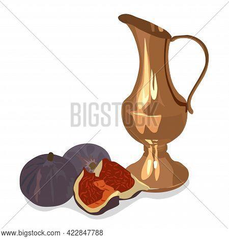 Copper Jug With Dates Vector Stock Illustration. Oriental Brass Arabic Pot. Indian Ceramics. Breakfa