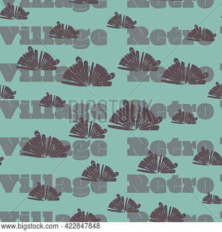 Retro Village Text Seamless Vector Repeat Pattern