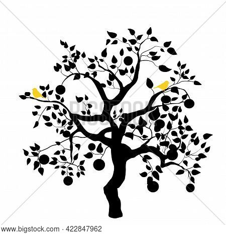 Silhouette Of A Persimmon Tree Vector Stock Illustration. Black And White Persimmon For Plotter Cutt