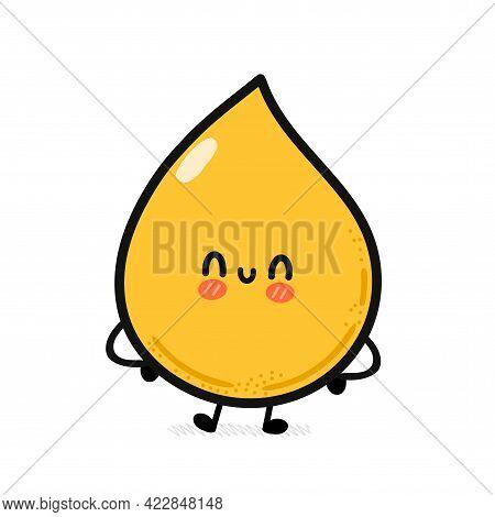 Cute Funny Happy Yellow Drop. Vector Hand Drawn Cartoon Kawaii Character Illustration Icon. Isolated
