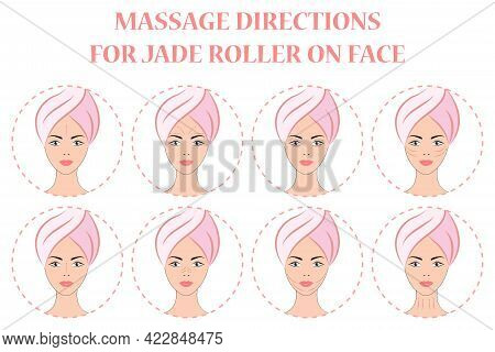 Beauty Girl Take Care Of Your Face And Use A Facial Roller. Facial Massage Is A Concept Of Skin Care