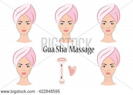 Face Massage Kit. Roller For Face And Massage Of Gua Sha Made Of Natural Stones. Massage Lines On A