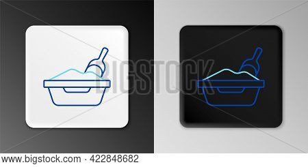 Line Cat Litter Tray With Shovel Icon Isolated On Grey Background. Sandbox Cat With Shovel. Colorful