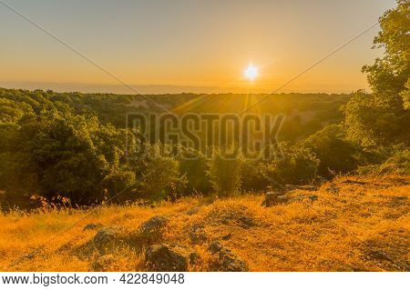 Sunset View Of The Volcanic Landscape And The Big Joba (jupta, Pit Crater) In Odem Forest, The Golan