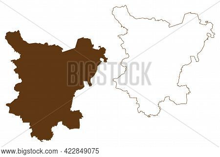 Borde District (federal Republic Of Germany, Rural District, Free State Of Saxony-anhalt) Map Vector