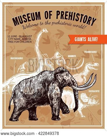 Sketch Hand Drawn Invitation To Museum Of Prehistory Poster With Mammoth And Dinosaurs On Beige Back