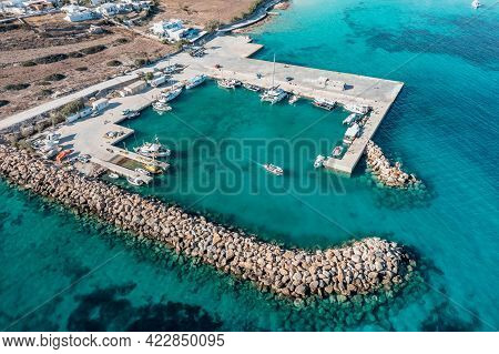 Greece, Pano Koufonisi Small Cyclades Island, Marina Aerial Drone View