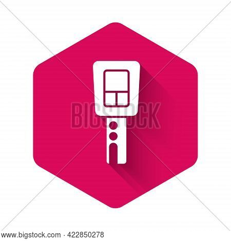 White Car Key With Remote Icon Isolated With Long Shadow Background. Car Key And Alarm System. Pink