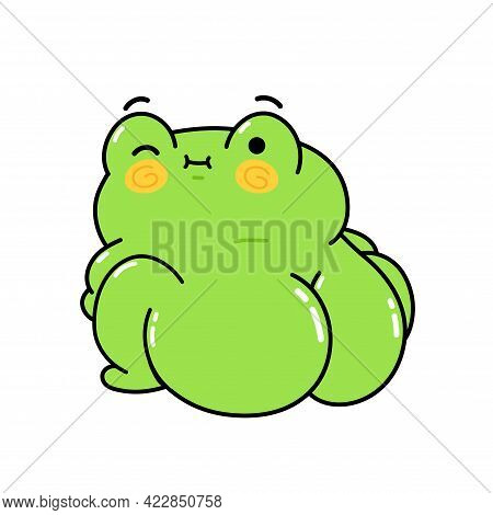 Cute Funny Frog With Big Buttock. Vector Hand Drawn Cartoon Kawaii Character Illustration Sticker Se