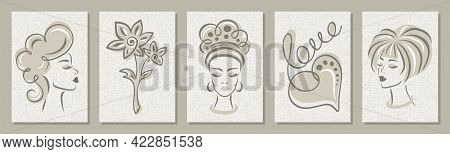 Set Of Five Monochrome Posters. Faces Of Women, Flower, Heart And The Word Love. Calm, Light Gray Co