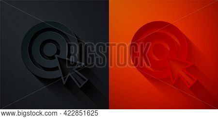 Paper Cut Target With Arrow Icon Isolated On Black And Red Background. Dart Board Sign. Archery Boar
