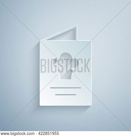 Paper Cut Cookbook Icon Isolated On Grey Background. Cooking Book Icon. Recipe Book. Fork And Knife