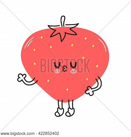 Cute Funny Strawberry Berry. Vector Hand Drawn Cartoon Kawaii Doodle Character Illustration Icon. St